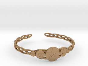 "Celtic Knot Pentacle Cuff Bracelet (3.0"" diameter) in Polished Brass"