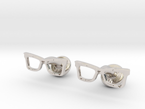 Hipster Glasses Cufflinks Origin in Platinum