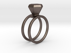 Diamond ring - Size 11 / 20.6 mm in Polished Bronzed Silver Steel