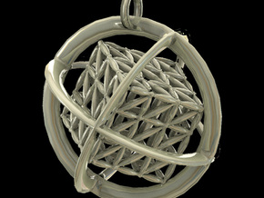 Flower of Life MetaCube with Rings pendant in Polished Bronzed Silver Steel