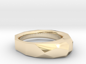 Decagon Faceted Ring 4.5 in 14K Yellow Gold