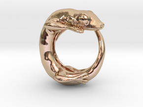 (Size 13) Gecko Ring in 14k Rose Gold Plated Brass