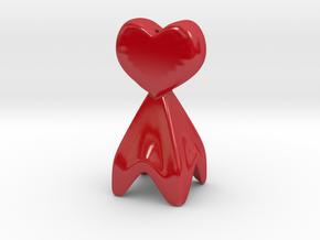 Pie Funnel in a heart shape in Gloss Red Porcelain