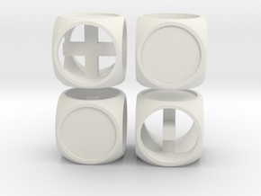 """Fudge One"" Dice Set (4dF) in White Natural Versatile Plastic: Polyhedral Set"