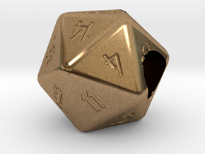 """Geek Beads"" 20 sided die in Natural Brass"