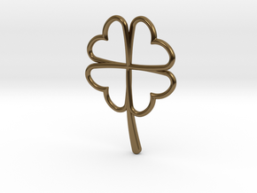 Wireframe Clover Pendant in Polished Bronze