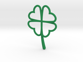 Wireframe Clover Pendant in Green Processed Versatile Plastic