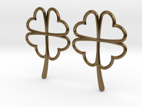 Wireframe Clover Earrings in Polished Bronze