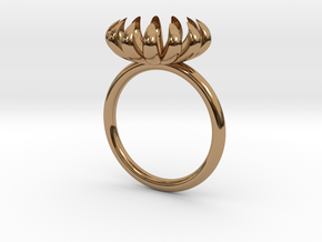 Annie Ring, very small bloom ring in Polished Brass