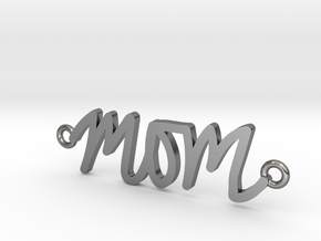 Mom Handwriting Necklace in Polished Silver