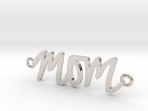 Mom Handwriting Necklace in Rhodium Plated Brass
