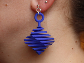 QTS earring large in Blue Processed Versatile Plastic
