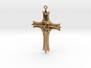 Skull Crucifix Pendant in Polished Brass