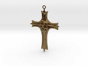 Skull Crucifix Pendant in Polished Bronze