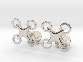 Drone Cufflinks in Rhodium Plated Brass