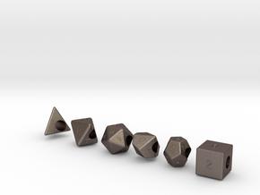 """Geek Beads"" Full set of dice in Stainless Steel"
