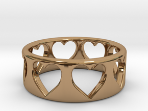 Heart ring (~size 8) in Polished Brass