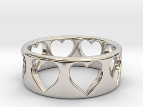 Heart ring (~size 8) in Rhodium Plated Brass