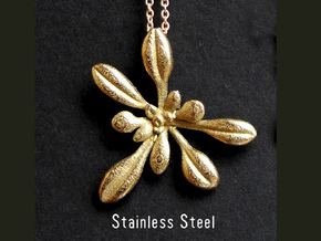 Large Arabidopsis Rosette pendant in Polished Bronzed Silver Steel
