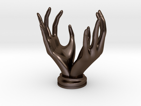 """Hands"" Stand For Pendants/Rings in Polished Bronze Steel"