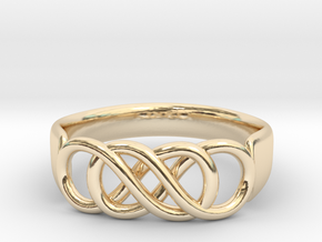 Double Infinity Ring 14.1 mm Size 3 in 14k Gold Plated Brass