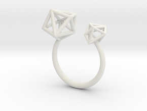 Double Tangle Ring in White Natural Versatile Plastic: Small