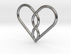Infinity Heart Pendant Mini in Fine Detail Polished Silver