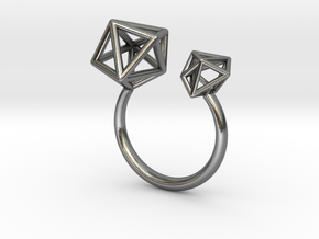 Double Tangle Ring in Polished Silver: Extra Small