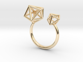 Double Tangle Ring in 14k Gold Plated Brass: Extra Small
