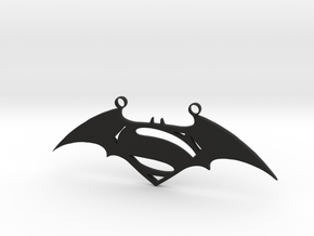 Batman and Superman Pendant in Black Natural Versatile Plastic