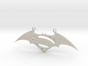 Batman and Superman Pendant in Natural Sandstone