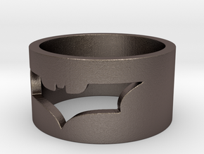 Batman Ring Size 10 in Polished Bronzed Silver Steel