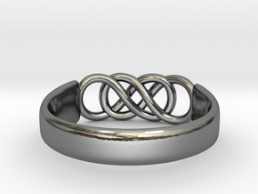 Double Infinity Ring 14.9mm Size4 in Fine Detail Polished Silver