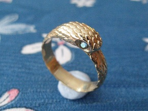 US10 Snake Ring: Tritium in Polished Bronze