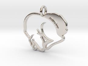Puppy Love Pendant in Rhodium Plated Brass