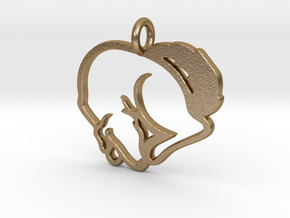 Puppy Love Pendant in Polished Gold Steel