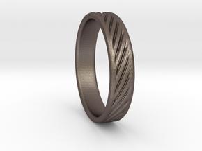 Hollow lines Ring in Polished Bronzed Silver Steel