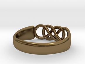 Double Infinity Ring 15.3mm Size4-0.5 in Polished Bronze