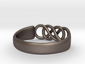 Double Infinity Ring 15.3mm Size4-0.5 in Polished Bronzed Silver Steel