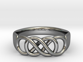 Double Infinity Ring 15.7 mm Size 5 in Fine Detail Polished Silver
