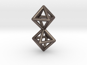 Twin Octahedron Frame Pendant in Polished Bronzed Silver Steel