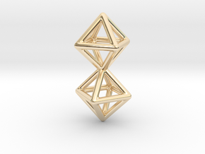 Twin Octahedron Frame Pendant in 14K Yellow Gold