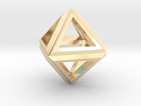 Octahedron Frame Pendant V1 in 14K Yellow Gold