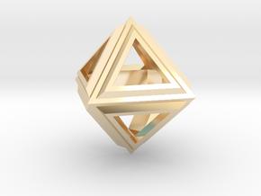 Octahedron Frame Pendant V2 in 14k Gold Plated Brass