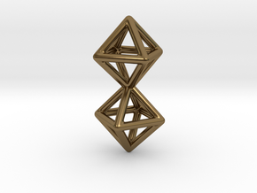 Twin Octahedron Frame Pendant in Polished Bronze