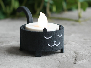 Black Cat Tea Light in Full Color Sandstone
