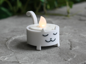 Cat Tea Light in Full Color Sandstone