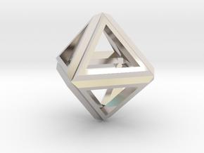 Octahedron Frame Pendant V1 Small in Platinum