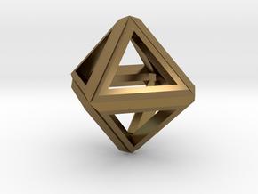 Octahedron Frame Pendant V1 Small in Polished Bronze