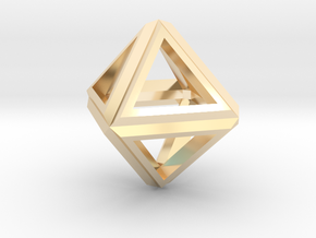 Octahedron Frame Pendant V1 Small in 14k Gold Plated Brass